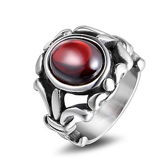 Chip Trip Men's Creative Rings Personality Red Black Gemstone Agate Titanium Steel Ring Couple Ring Sa733