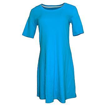 Isaac Mizrahi Live! Petite Dress PM Elbow- Sleeve Blue A351508