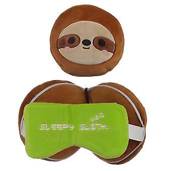 Relaxeazzz Peluche Bradipo Rotondo Travel Pillow & Eye Mask