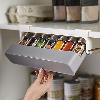 Kitchen Self-adhesive Wall-mounted Under-Shelf Spice Organizer Spice Bottle Storage Rack Kitchen Supplies Storage Home