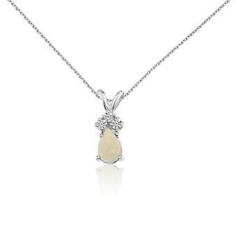 LXR 14k or blanc Or Or Opal Pear pendentif avec des diamants 0.22 ct