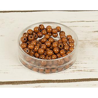6mm ljusbrun trä gängning pärlor - 110pk