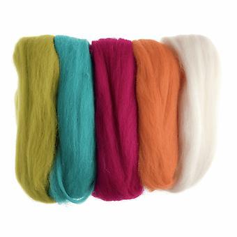 Roving de laine naturelle, 50g - Couleurs de néon lumineux