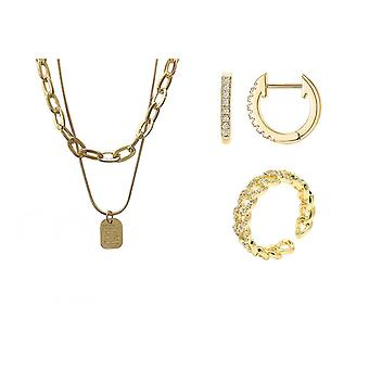 Gold And Silver Jewelry Set/plated Paperclip Layered Necklaces / Plated Open Hoops Earrings/plated Round Open Hoops Rings