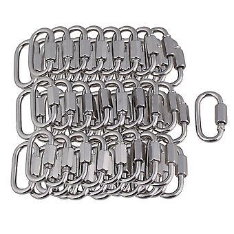 Karabiinit 100kpl hopeaa 304 ruostumatonta terästä m3.5 lenkkiketjun karabiini nopeaan kiinnittämiseen
