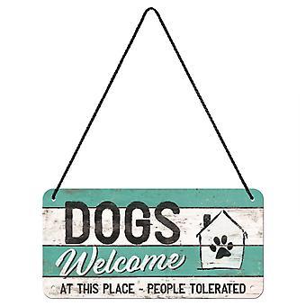 Hundar välkomnar vintage design hängande skylt