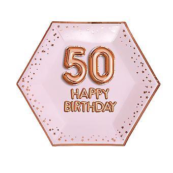 Glitz & Glamour Pink & Rose Gold Plate - Suuri - Ikä 50