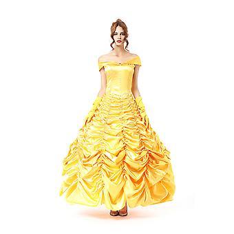 Halloween Gelbe Belle Prinzessin Kleid, Court Queen Uniform, Fotostudio Fotoanzug