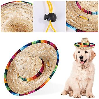Sombrero Dog, M Straw Hat Cat Sun Hat Mini Mexican Straw Braided Straw Sombrero With Cotton Rope Adjustment For Puppies, Cats, Kitten And Cat
