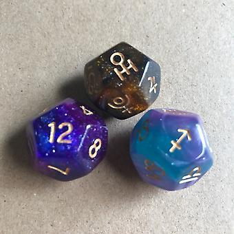 12-puolinen kaksivärinen tähtitaivassymboli noppa kaksipuolinen tähdistö noppaa 12-puolinen D12-pelin Lucky Galaxy Seula