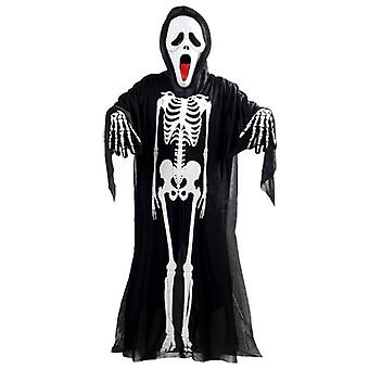Adult Kids Skull Skeleton Halloween Cosplay Party Gown Mask Gloves