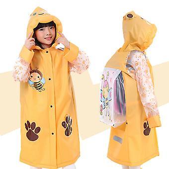 3-10 Jahre Alter Kinder Kapuzenponcho Cartoon Regenmantel mit Schultasche Sitz-gelb