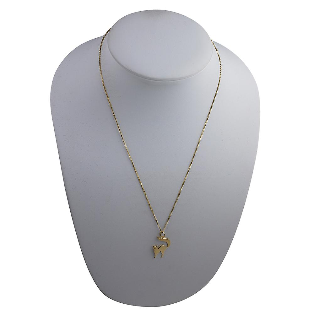 9ct Gold 17x18mm Cat Pendant with a cable Chain 20 inches
