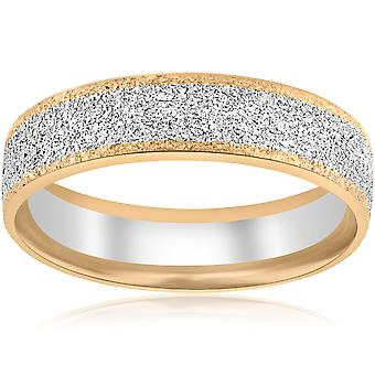 14k White & Yelow Gold Mens 6mm Two Tone Comfort Fit Texture Wedding Band