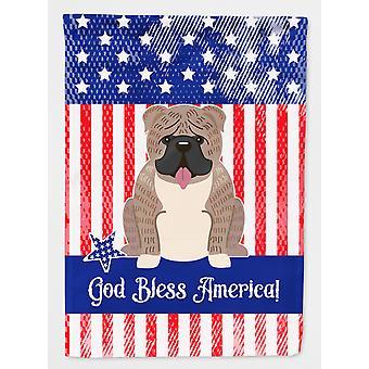 Patriotic USA English Bulldog Grey Brindle  Flag Canvas House Size
