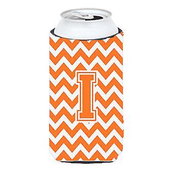 Letter I Chevron Orange and White Tall Boy Beverage Insulator Hugger