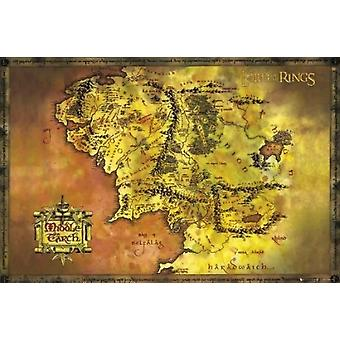 Taru sormusten herrasta Middle Earth kartta juliste Juliste Tulosta