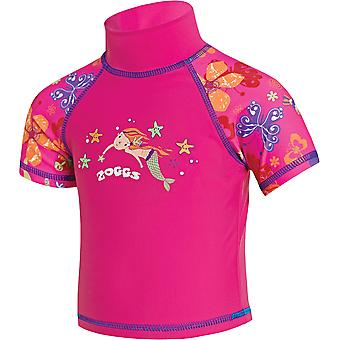 Zoggs Junior Girls Mermaid Flower Sun Protection Swim Top Pink for 1-6 Years
