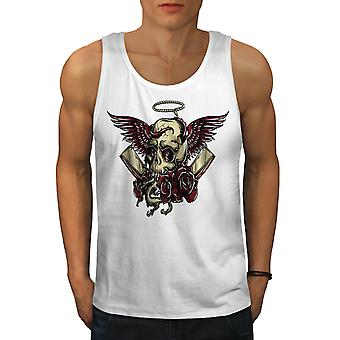 Head Face Death Skull Men WhiteTank Top | Wellcoda