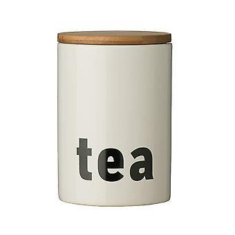Premier Housewares Mono Tea Canister, White Black Text
