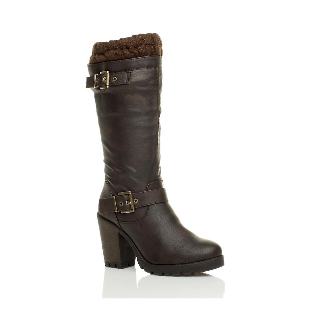 Ajvani womens high block chunky heel knitted collar winter buckle zip army biker military combat calf boots QUrKB
