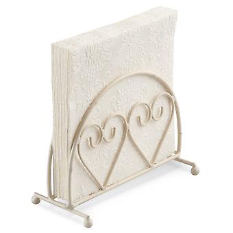Ambiente Two Hearts Design Upright Napkin Holder, Cream