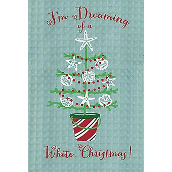 Dreaming of White Christmas Shells Coastal Embroidery Waffle Kitchen Dish Towel