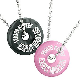 Have Faith Expect Miracles Best Friends Love Couple Amulets Agate Pink Simulated Cats Eye Necklaces