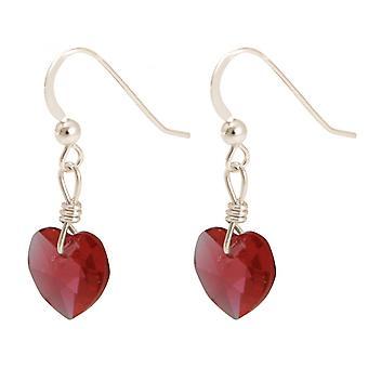 2.5 سم للسيدات-قلب أقراط-925 الفضة--الأحمر-