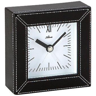 Atlanta 3049 alarm clock quartz analog leather look black square