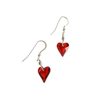 Ladies heart earrings 925 Silver wild heart red magma * red MADE WITH SWAROVSKI ELEMENTS® 2 cm