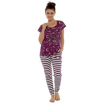 Tom Franks Naisten Tähtikatsoja Painettu Combed Jersey Pyjamas - Burgundy - 12-14