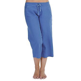 Tom Franks Ladies Solid Colour Linen 3/4 Length Trouser Lounge Wear Pants - Royal Blue - 10