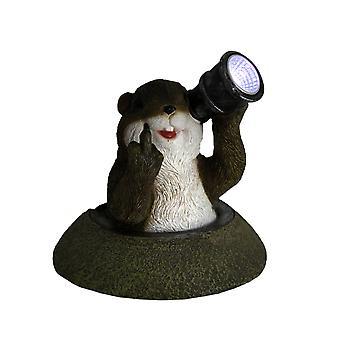 Sjove Solar øjne langfinger Groundhog LED Accent lys Statue