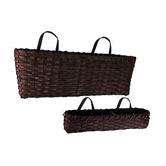 Dark Red Woven Wood Window Basket Set of 2