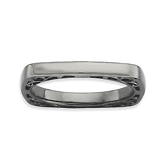 2.25mm 925 Sterling Silver Ruthenium plating Stackable Expressions Polished Black-plate Square Ring - Ring Size: 5 to 10