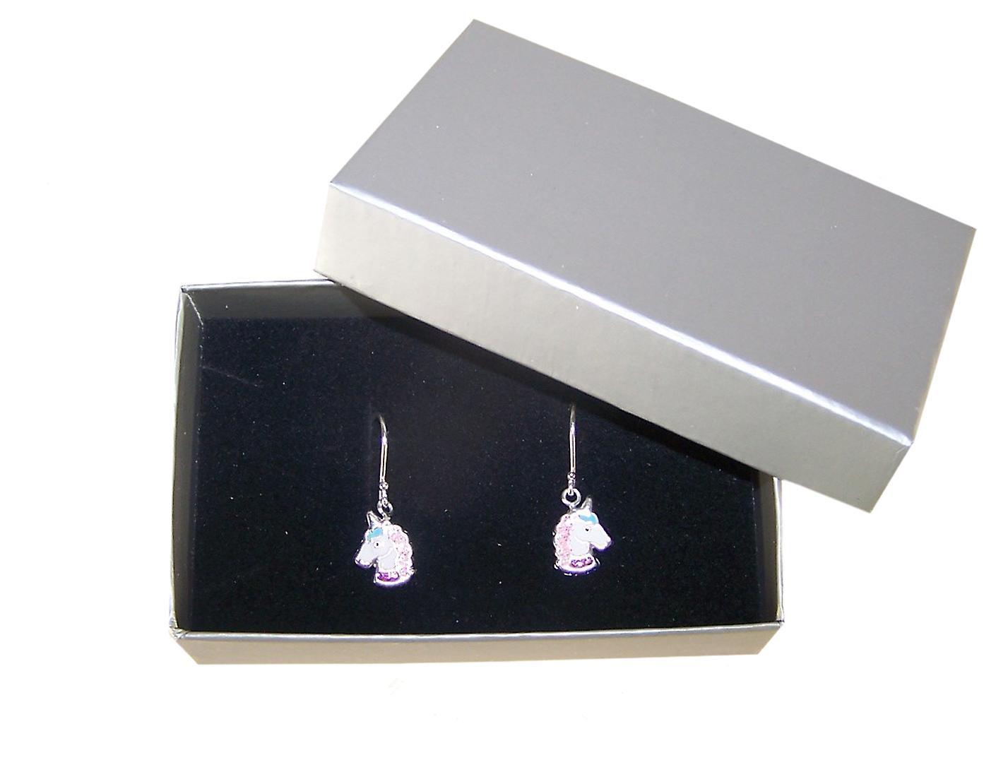 Girls white and pink unicorn silver hoop earrings