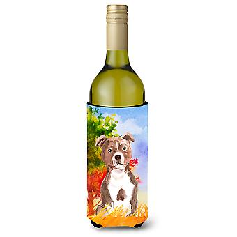 Autunno rosso Staffordshire Bull Terrier bottiglia di vino bevanda isolante Hugger