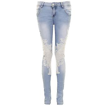 Ladies Twist Floral Crochet Lace Light Denim Sexy Acid Wash Fitted Skinny Jeans