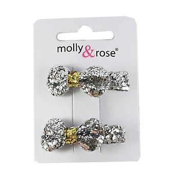 Molly & Rose Small Glitter Hair Bow Clasp 2 PK Silver