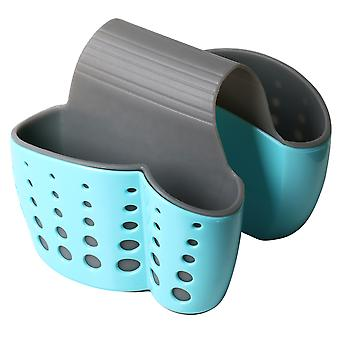 TRIXES Double Sink Saddle Caddy – Space Saving Kitchen Sponge Holder Organiser Drainer - Blue