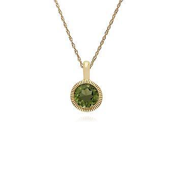 Gemondo 9ct żółte złoto Peridot pojedynczy kamień okrągły Milgrain wisiorek na łańcuszku 45cm