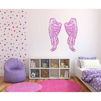 Full Colour Pink Angel Wings Wall Sticker