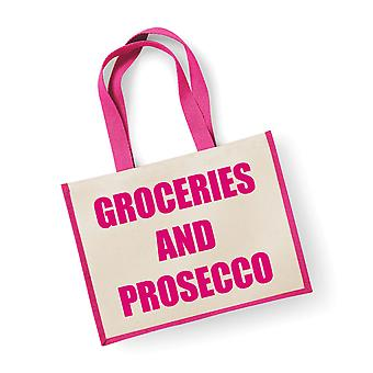 Large Jute Bag Groceries And Prosecco Pink Bag