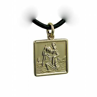 1/20th 14ct yellow gold on Silver 17mm square St Christopher Pendant with a Leather Pendant Cord 24 inches