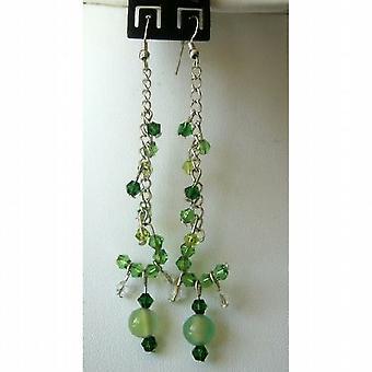 スタイリッシュなピアス シミュレートぶら下がりイヤリング ライト ・ ダークの緑色結晶