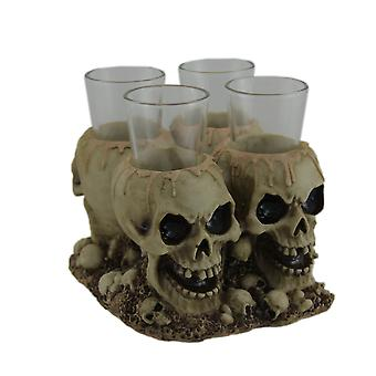 Creepy Gothic Human Skull Shot Glass Holder With 4 Shot Glasses