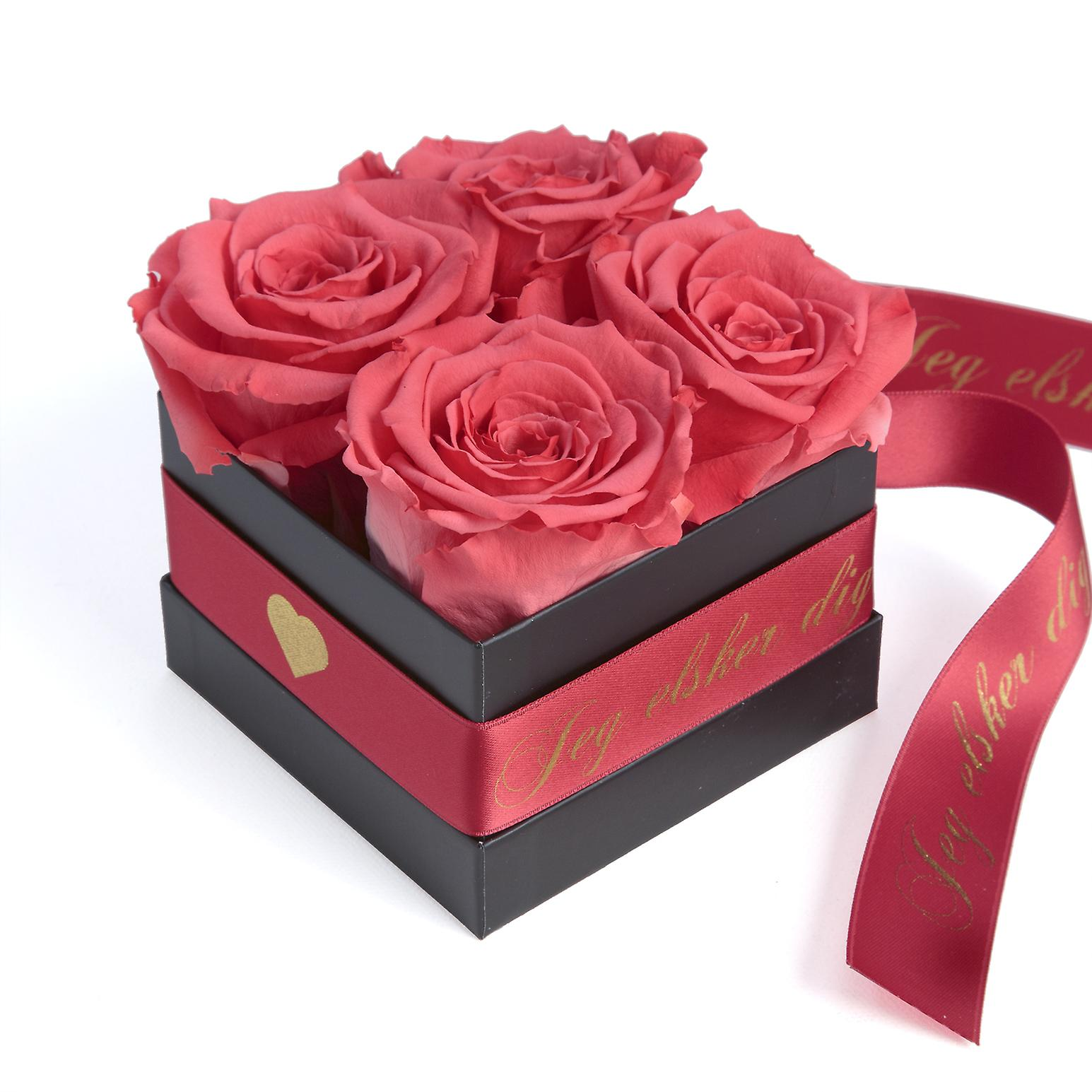 JEG elsker dig Flowerbox with 4 preserved roses pink and satin ribbon shelf life 3 years