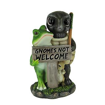 Guardians of the Garden Gnomes Not Welcome SIgn Statue