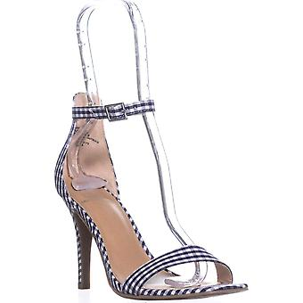 Material Girl MG35 Blaire5 Ankle Strap Heels, Blue Gingham